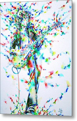 Jimmy Page Playing The Guitar - Watercolor Portrait Metal Print by Fabrizio Cassetta