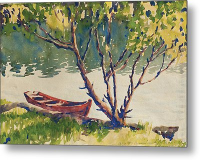 The Red Boat Metal Print by Kelly Fitzpatrick