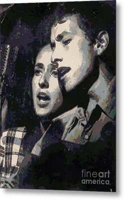 Joan Baez And Bob Dylan Metal Print by Paulette B Wright