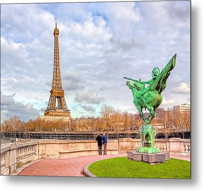 Joan Of Arc And The Eiffel Tower Metal Print by Mark E Tisdale