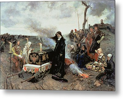 Joanna The Mad Accompanying The Coffin Of Philip The Handsome Metal Print by Francisco Pradilla y Ortiz