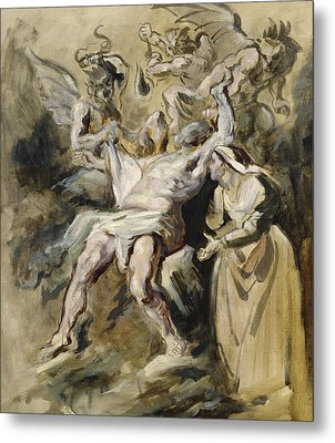 Job Tormented By The Demons Metal Print by Ferdinand Victor Eugene Delacroix