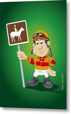 Jockey Cartoon Man Horse Trail Sign Metal Print by Frank Ramspott