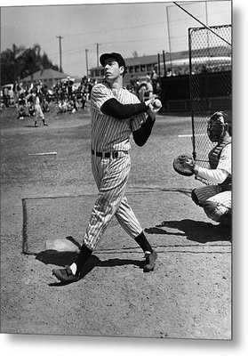 Joe Dimaggio Hits A Belter Metal Print by Gianfranco Weiss