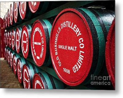 Joe Fox Fine Art - Single Malt Whiskey Barrels Of Old Bushmills Distillery Northern Ireland Metal Print by Joe Fox