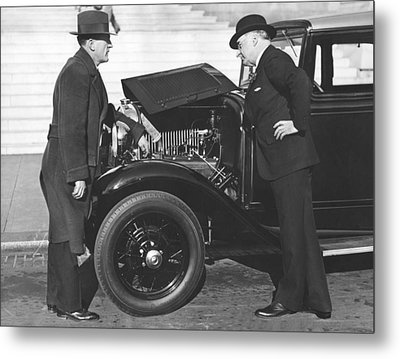 Joe Judge, Auto Salesman Metal Print by Underwood Archives