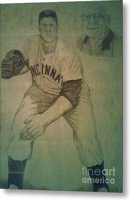 Metal Print featuring the drawing Joe Nuxhall by Christy Saunders Church