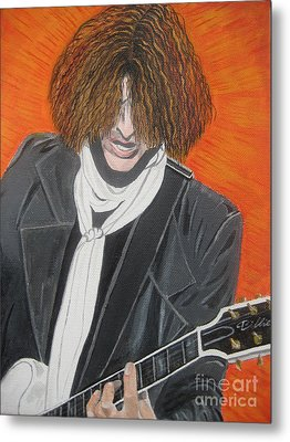 Joe Perry On Guitar Metal Print by Jeepee Aero