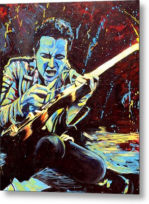Joe Strummer With Fender Strat Metal Print
