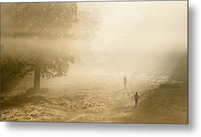 Joggers In Richmond Park London On A Crisp Foggy Autumn Morning Metal Print by Matthew Gibson