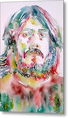 John Bonham Watercolor Portrait Metal Print by Fabrizio Cassetta