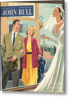 John Bull 1950s Uk Marriages Shopping Metal Print by The Advertising Archives