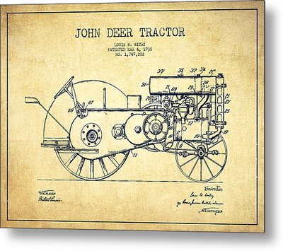 John Deer Tractor Patent Drawing From 1930 - Vintage Metal Print by Aged Pixel
