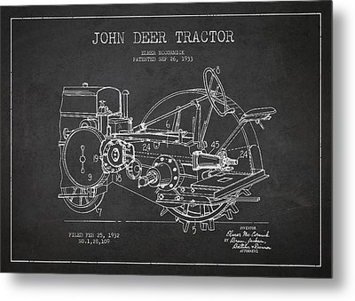 John Deer Tractor Patent Drawing From 1933 Metal Print