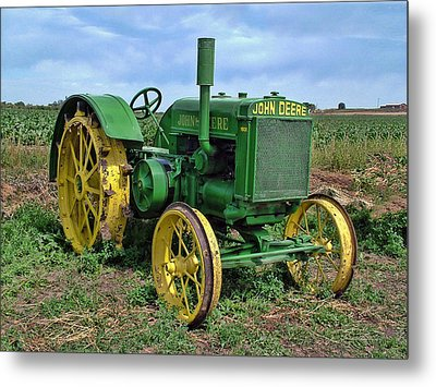 John Deere Tractor Hdr Metal Print by Ken Smith