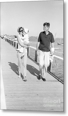 John F. Kennedy And Jacqueline Kennedy At Hyannis Port Marina Metal Print by The Harrington Collection
