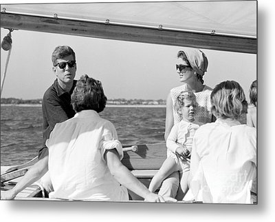 John F. Kennedy And Jacqueline Sailing Off Hyannis Port Metal Print by The Harrington Collection