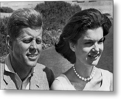 John F. Kennedy And Jacqueline Metal Print by Underwood Archives