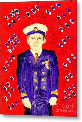 John F Kennedy In Uniform Bright Red Background Metal Print
