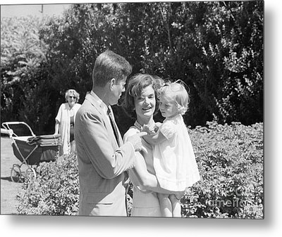 John F. Kennedy Jacqueline And Caroline Metal Print by The Harrington Collection