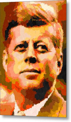 John Fitzgerald Kennedy - Abstract Metal Print
