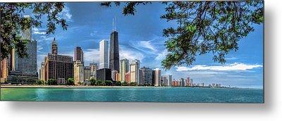 John Hancock Chicago Skyline Panorama Metal Print by Christopher Arndt