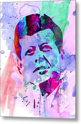 John Kennedy Watercolor Metal Print