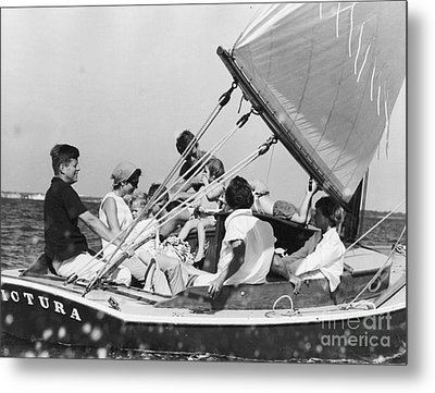 John Kennedy With Robert And Jacqueline Sailing Metal Print by The Harrington Collection