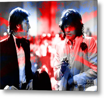 John Lennon And Mick Jagger Painting Metal Print by Marvin Blaine