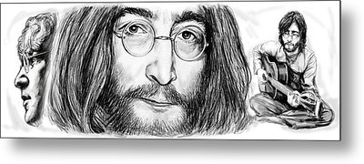 John Lennon Art Drawing Sketch Poster Metal Print by Kim Wang