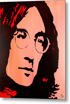 Metal Print featuring the painting John Lennon Beatles Pop Art by Bob Baker