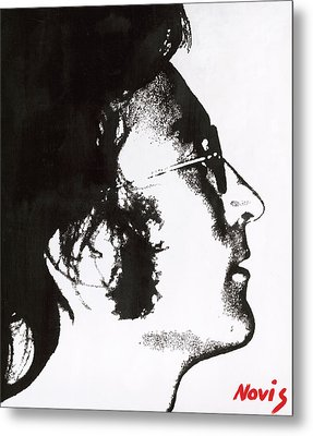 John Lennon Bw Metal Print by Barry Novis