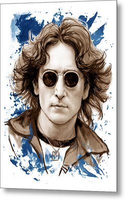 John Lennon Colour Drawing Art Poster Metal Print by Kim Wang