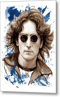 John Lennon Colour Drawing Art Poster Metal Print
