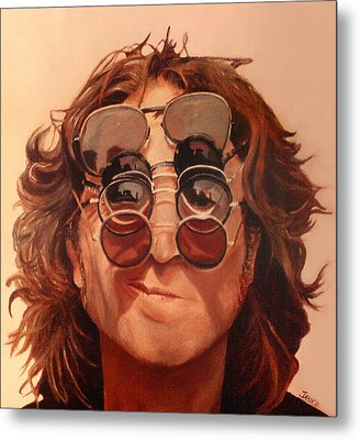 Metal Print featuring the painting John Lennon by Janice Dunbar