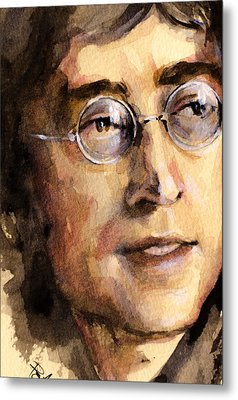 Metal Print featuring the painting John Lennon by Laur Iduc