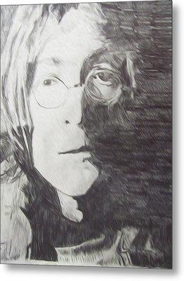 John Lennon Pencil Metal Print