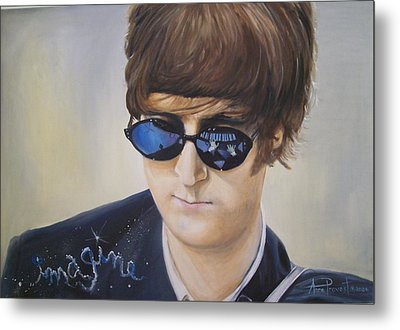 John Lennon-reflections Imagine Metal Print by Anne Provost