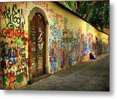 John Lennon Wall Metal Print by Wendell Thompson