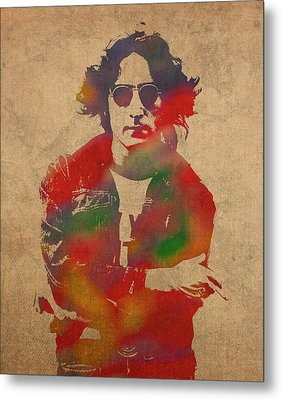 John Lennon Watercolor Portrait On Worn Distressed Canvas Metal Print by Design Turnpike