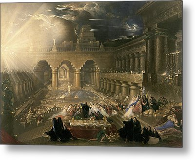 John Martin, Belshazzars Feast, British Metal Print by Litz Collection