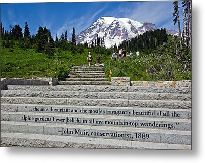 John Muir Quote At Mt Rainier Metal Print by Bob Noble Photography