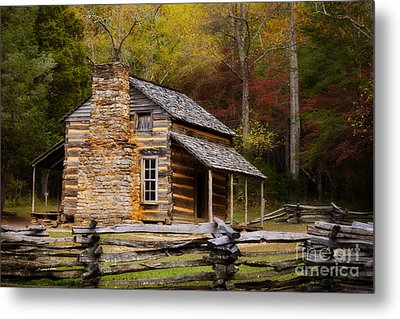 John Oliver Cabin Cades Cove Metal Print by Lena Auxier