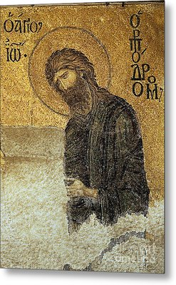 John The Baptist-detail Of Deesis Mosaic  Hagia Sophia-judgement Day Metal Print by Urft Valley Art