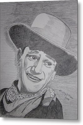 Metal Print featuring the painting John Wayne by Kathy Marrs Chandler