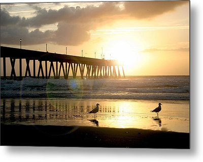 Johnnie Mercer's Pier With Birds Metal Print by Phil Mancuso