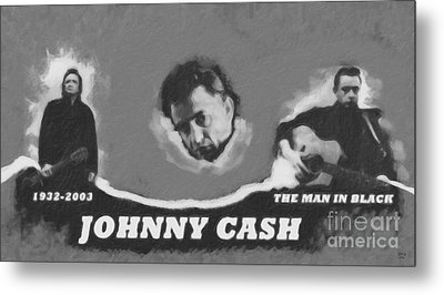 Johnny Cash Metal Print by David Millenheft