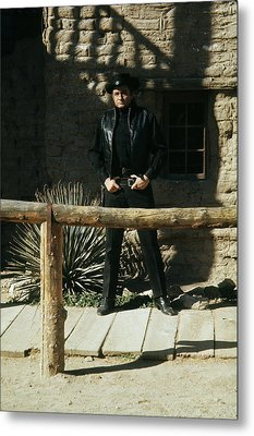 Metal Print featuring the photograph Johnny Cash Gunfighter Hitching Post Old Tucson Arizona 1971 by David Lee Guss