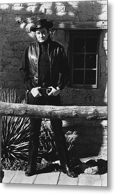 Metal Print featuring the photograph Johnny Cash Gunslinger Hitching Post Old Tucson Arizona 1971  by David Lee Guss