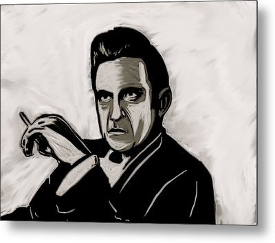 Metal Print featuring the painting Johnny Cash by Jeff DOttavio